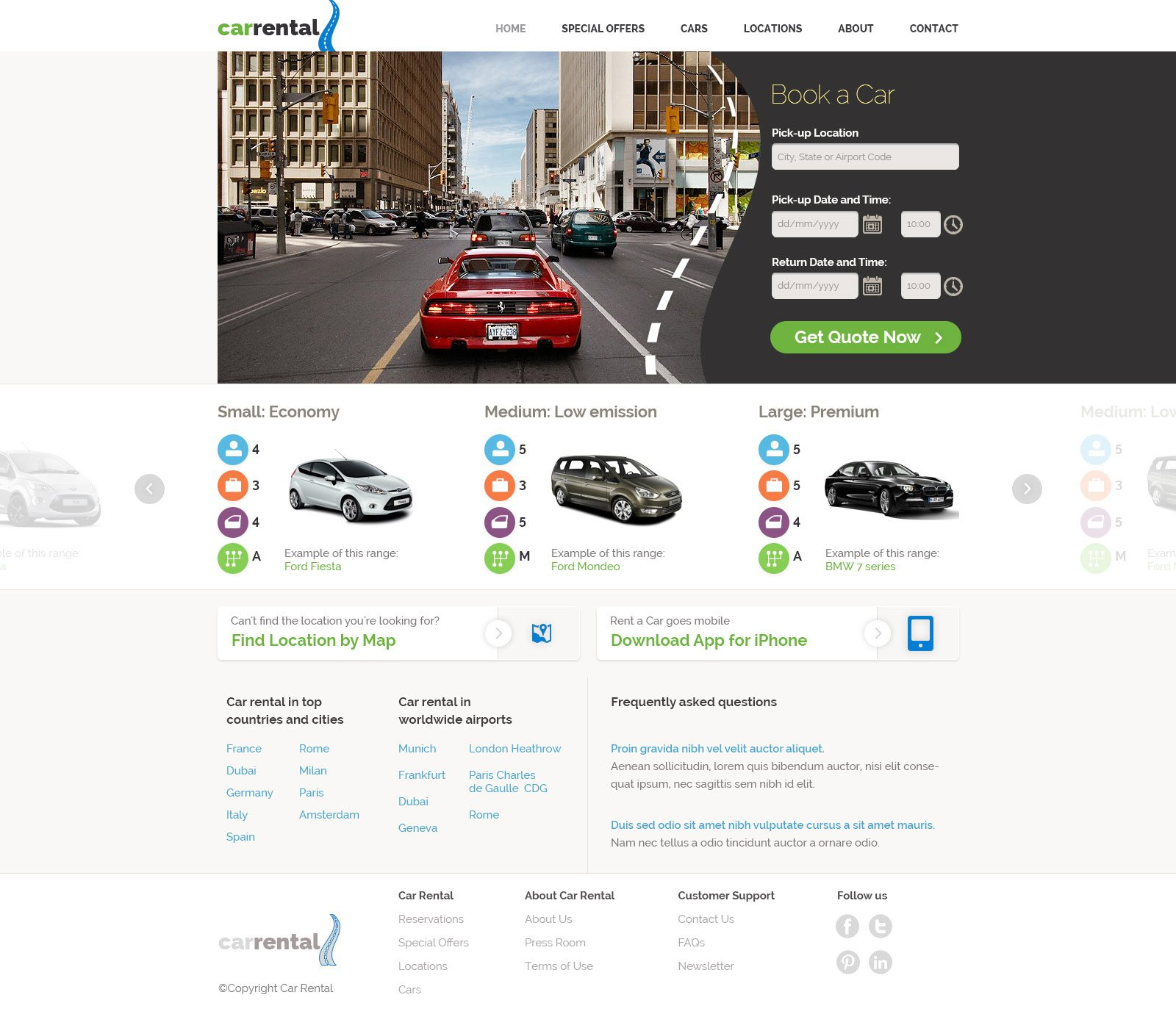 Rent Websites: Car Rental Website Template
