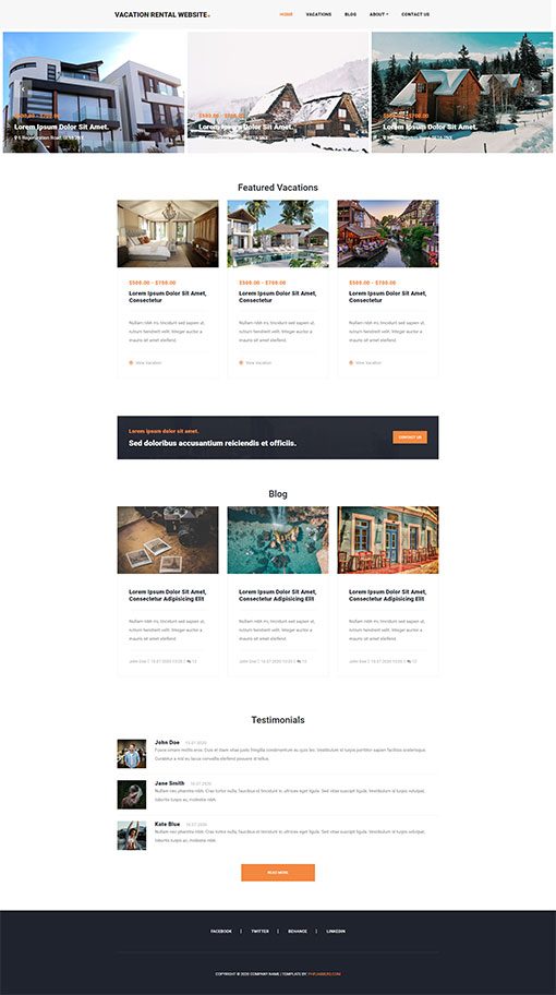 Vacation Rental Website Template 18