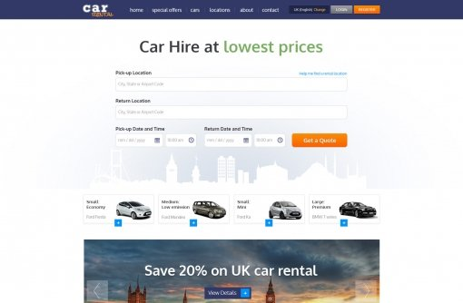 car rental template - Free Web Templates