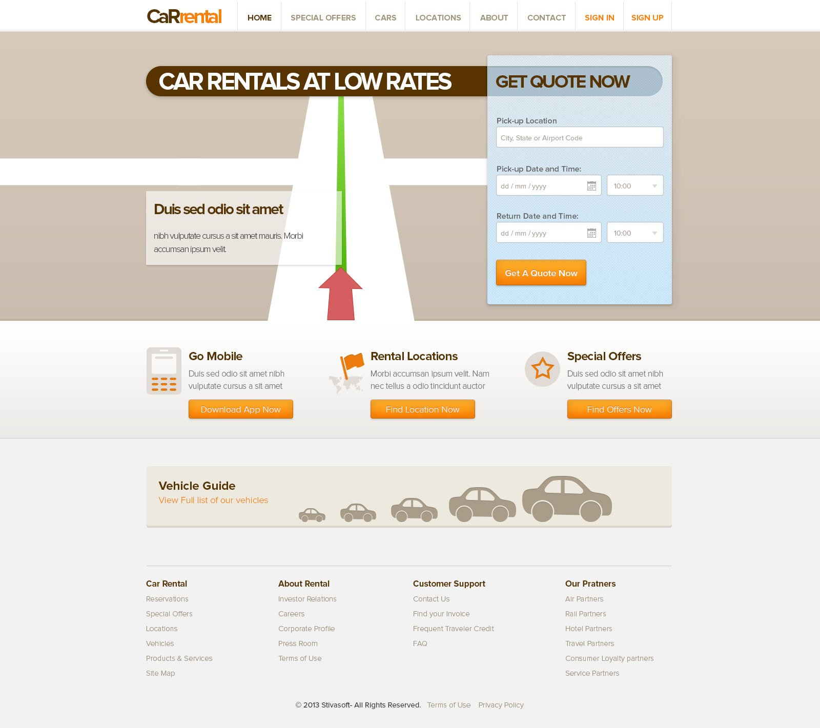 Free Apartment Listing Sites: Free Rent A Car Web Templates