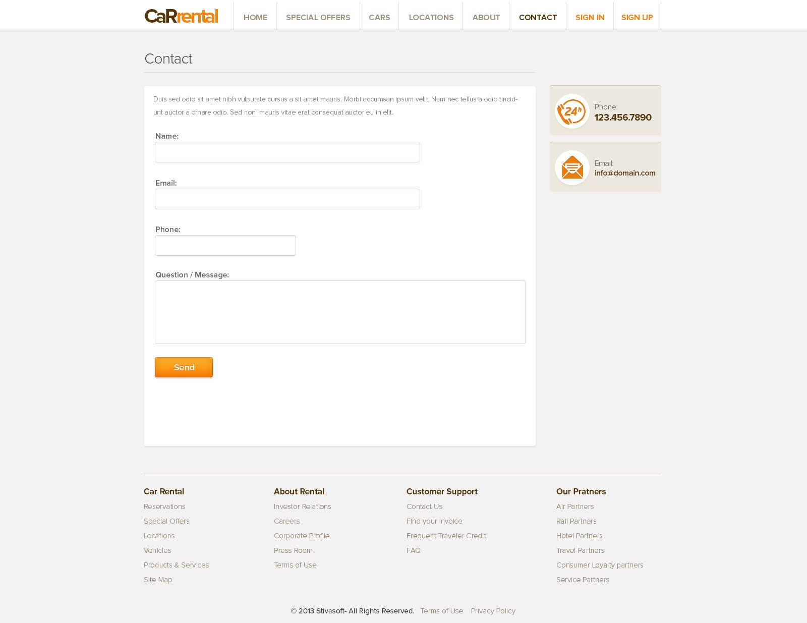 car rental template free rent a car web templates phpjabbers