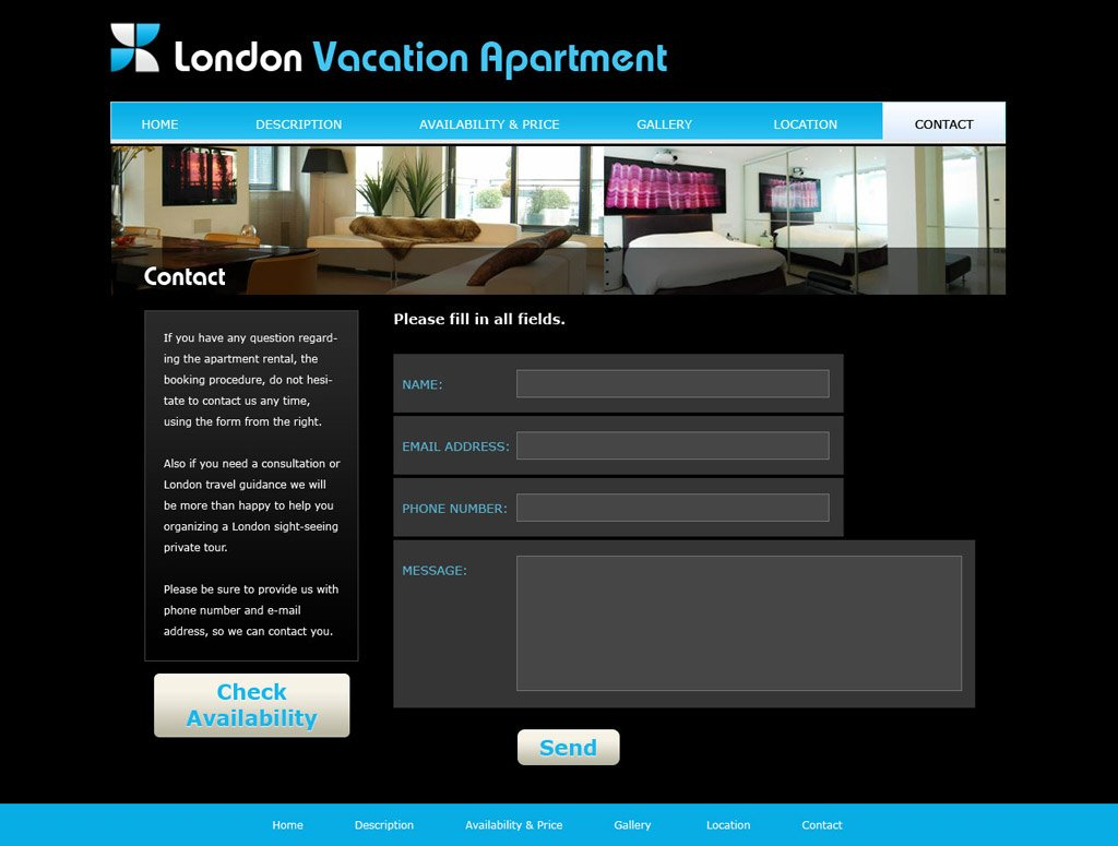 free vacation home web template 2 website templates phpjabbers. Black Bedroom Furniture Sets. Home Design Ideas