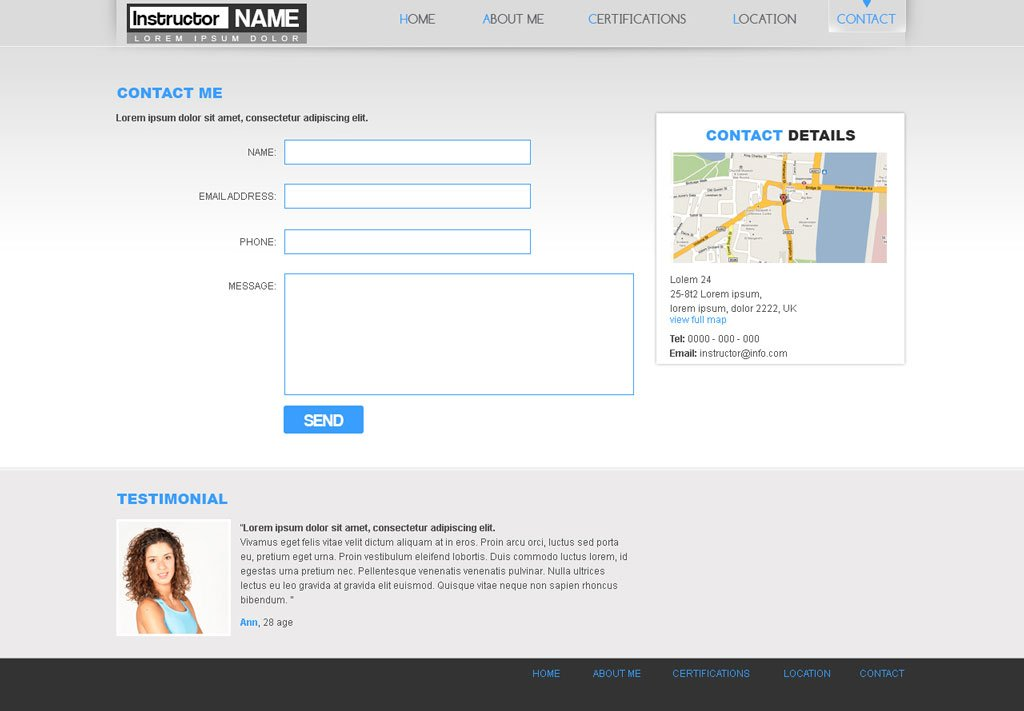 Free fitness web template 29 personal trainer template for Php homepage template