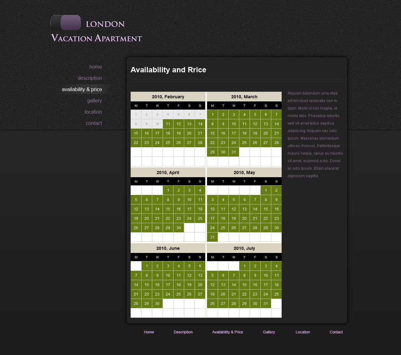 Rental House Website: Holiday Home Web Template #5
