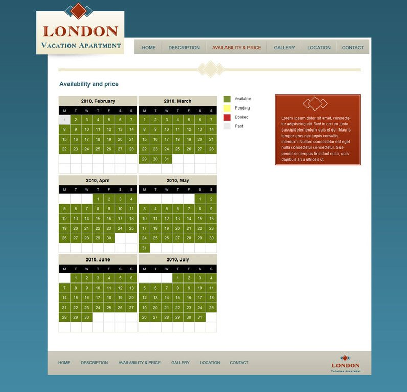 Rental House Website: Vacation Rental Website Template #6