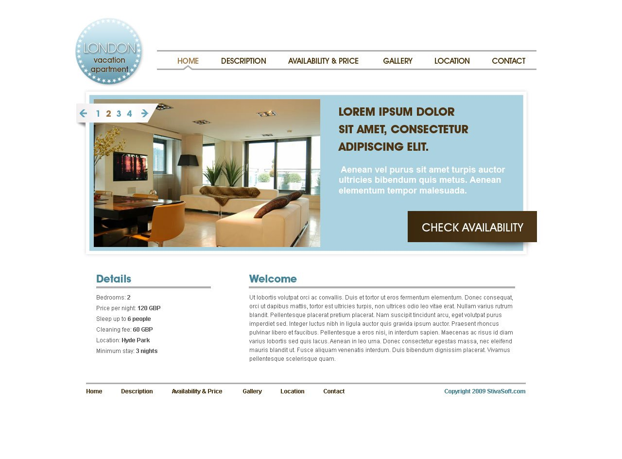 vacation rental web template 7 free website templates