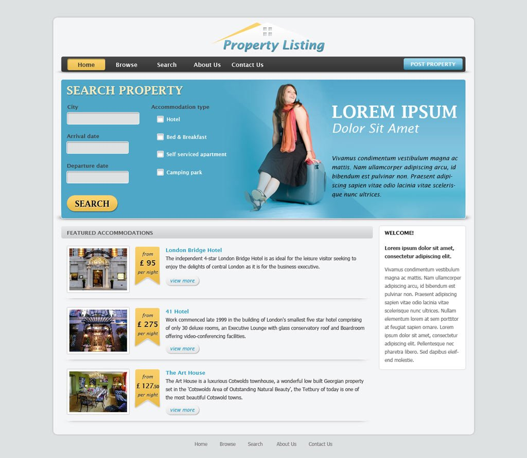 Real estate website template free real estate web for Php homepage template