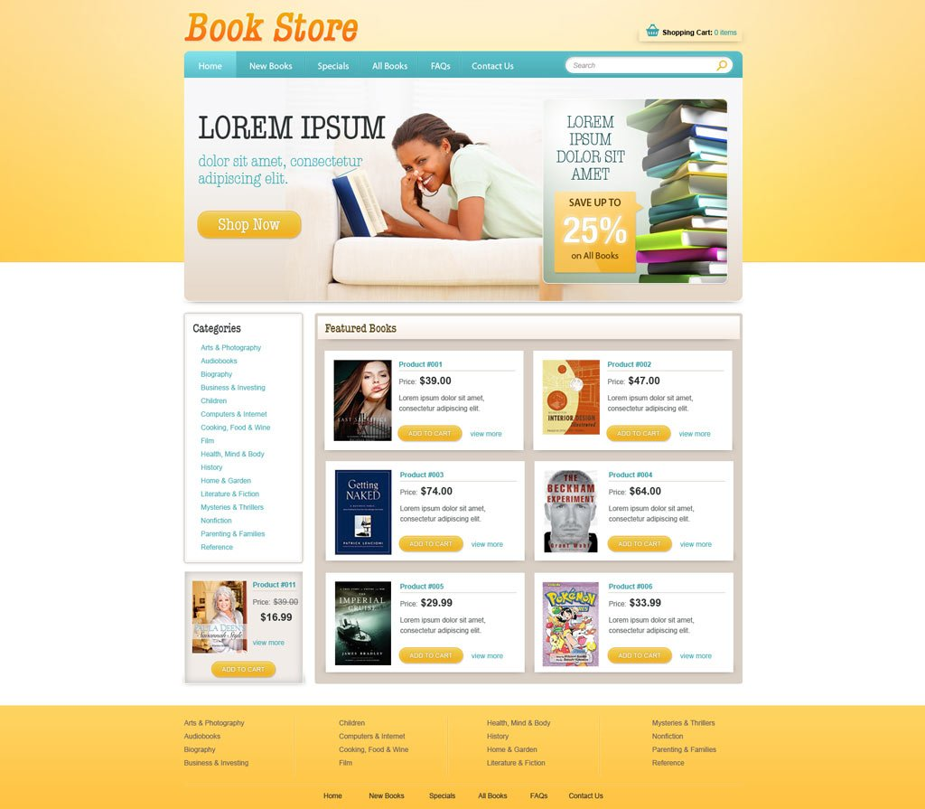 Book Online Store Template Free ECommerce Website Templates - Online book template free