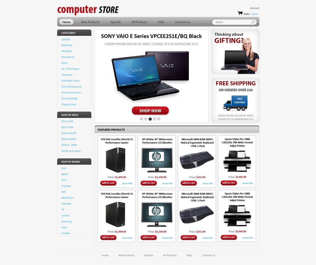 Computers Store Web Template | Free Online Store Templates ...