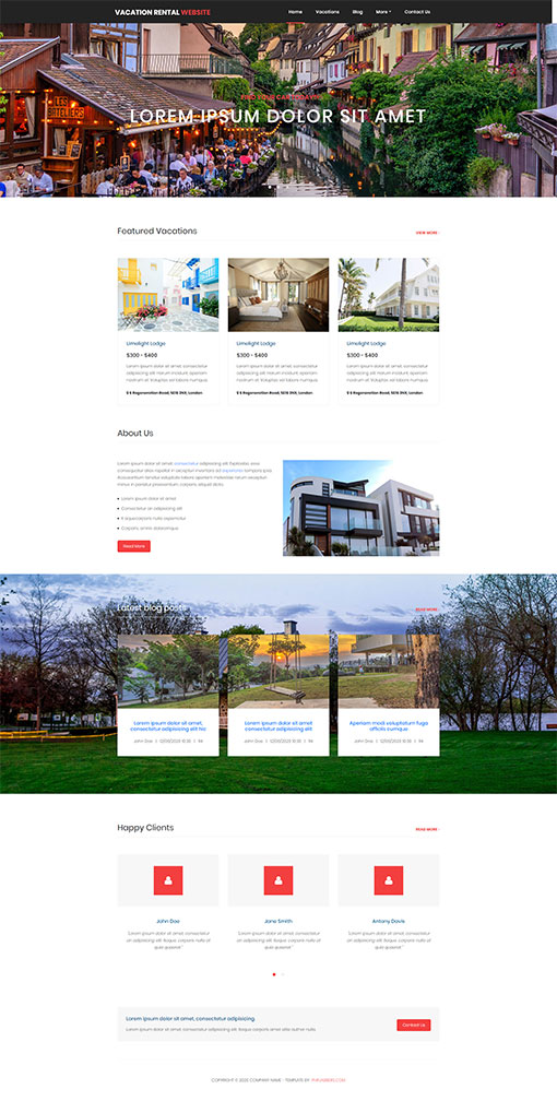 Vacation Rental Website Template 9