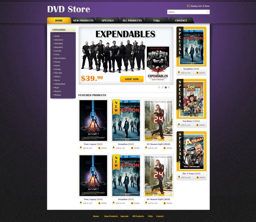 Dvd Online Store Template Free Ecommerce Website Templates