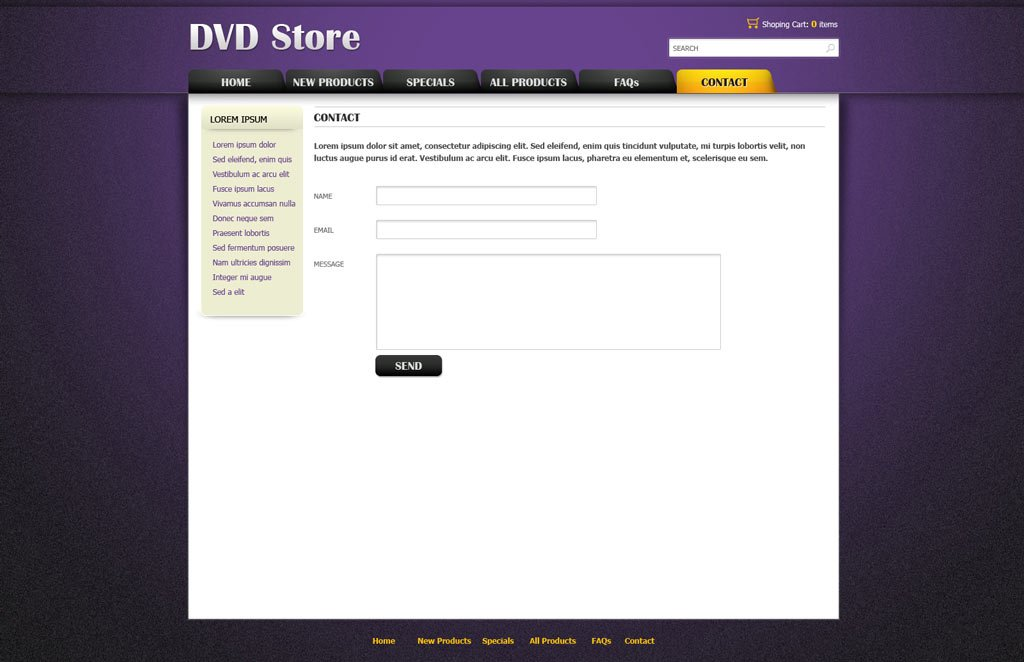 dvd online store template free ecommerce website templates phpjabbers. Black Bedroom Furniture Sets. Home Design Ideas