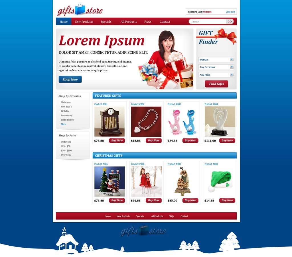 Gifts Shopping Web Template | Shopping Cart Website Templates ...