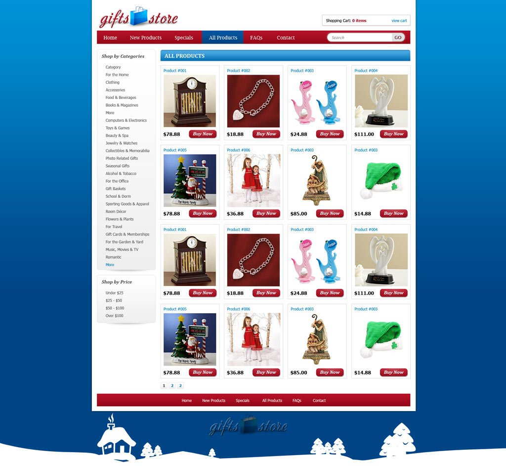 Gifts shopping web template shopping cart website for Online websites for shopping
