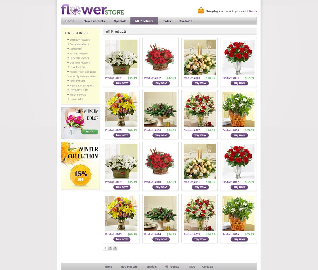 flower online store template free online store web templates phpjabbers. Black Bedroom Furniture Sets. Home Design Ideas