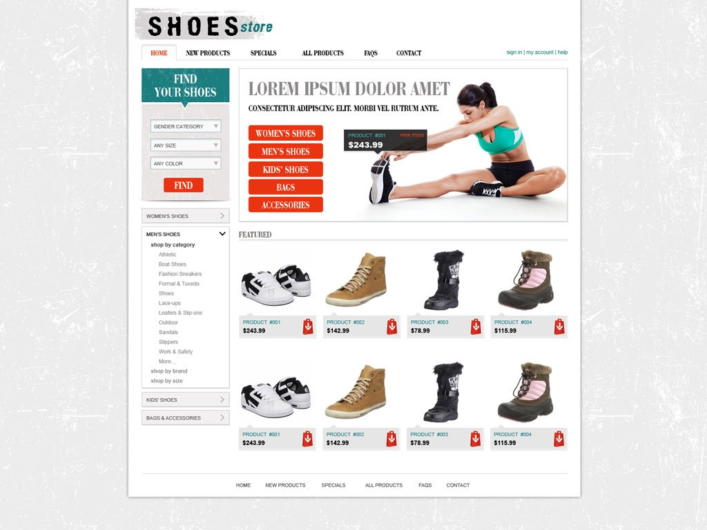 Free shopping cart website template online store for Online websites for shopping