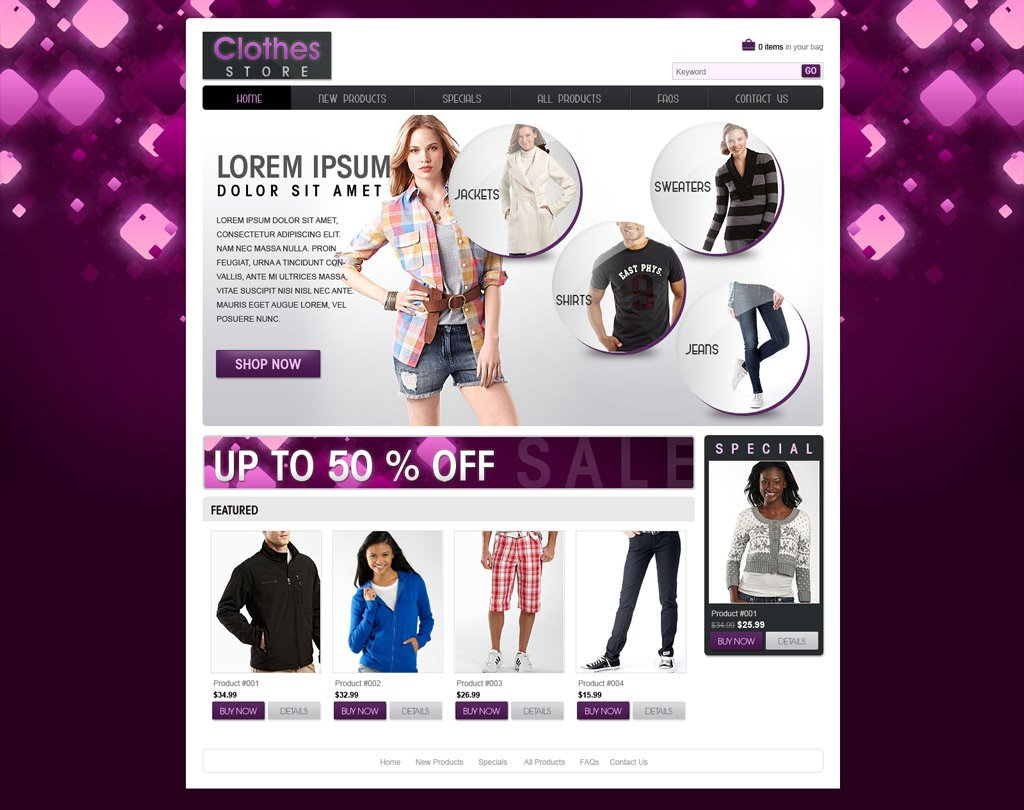 Shopping website template free ecommerce website for Online websites for shopping