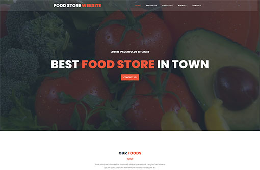 Food Store Webiste Template